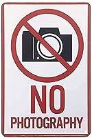 2個 写真撮影なしメタルティンサイン警告カメラなし白赤ヴィンテージサインカフェバーパブショップバーパブホームハンギングアートワークウォールアート装飾サインアウトドアリビングガーデンサインパブリックサイン8X12インチ メタルプレート レトロ アメリカン ブリキ 看板
