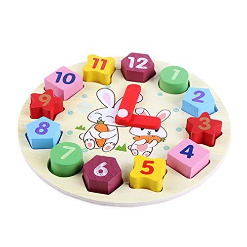 QYQS Reloj De Clasificación De Colores con Forma De Madera, Rompecabezas De Bloques De Números, Rompecabezas Clasificador De Apilamiento, Juguete Educativo De Aprendizaje Temprano(Color:Segundo)