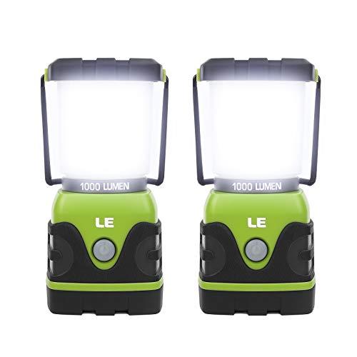 LE Linterna de Camping, Farol de Camping Regulable 1000 Lumen, 4 Modos Luz de Emergencia, Luces de Tienda Resistente al Agua para Camping, Senderismo, Pesca, Cortes de Energía, 3 * D con pilas, 2 pack
