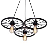 Industrial Rustic Farmhouse Wagon Wheel Chandelier, Round Vintage 3-Light Hanging Pendant Light Fixture Perfect for Kitchen Island Dining Room Bedroom Living Room Foyer Hallway, Black Finish