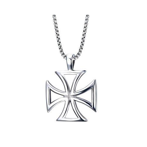 BOBIJOO JEWELRY - all'Ingrosso Ciondolo Collana Croce patente d'oro dei Cavalieri Templari d'Acciaio Perforata Uomo + Catena