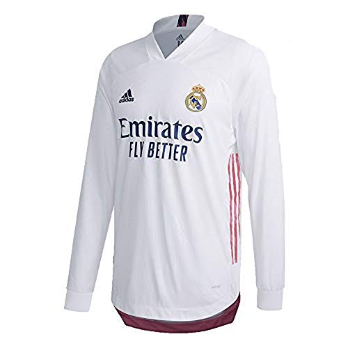 Real Madrid Home Authentic Men's Long Sleeve Soccer Jersey- 2020/21 (X-Large) White