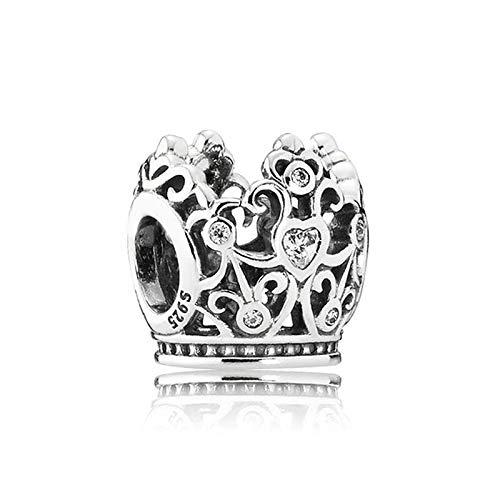 LIIHVYI Pandora Charms para Mujeres Cuentas Plata De Ley 925 Corona De Princesa Compatible con Pulseras Europeos Collars