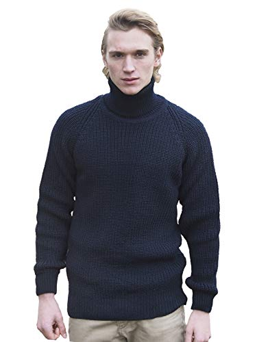 Aran Crafts Men's Irish Cable Knitted Wool Rib Roll Neck Sweater (R761-LG-NAVY)