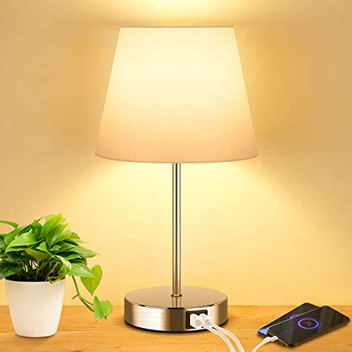 Touch Control Table Lamp with 2 USB Ports and AC Power Outlet 3 Way Dimmable Modern Bedside product image