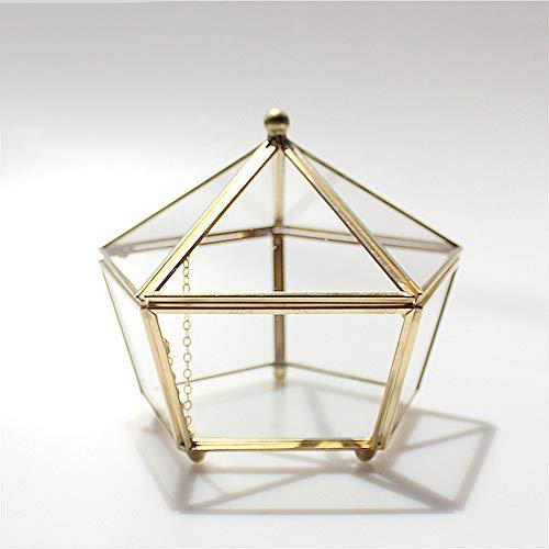 MINGZE Terrario de Estilo Retro con Patas pequeñas de Cobre Dorado, Cristal Transparente, Forma joyero pentagonal, para Plantas, para Escritorio, con Tapa basculante (Dorado El Cobre)