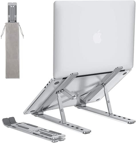 OMOTON Laptop Ständer, 6-Stufe Verstellbarer Laptop Halter, Faltbarer Notebook Ständer aus Aluminium, Tragbare Laptop Halterung für MacBook Pro/Air, Lenovo, Dell, und Alle 10-15,6 Zoll Laptops, Grau