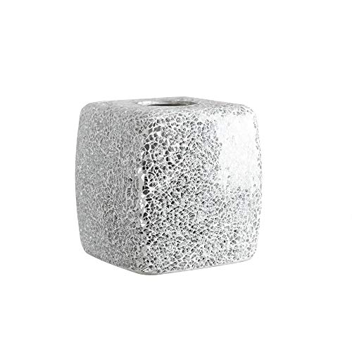 Whole Housewares Mosaic Glass Tissue Holder Decorative Tissue Cover Square Box (Silver)