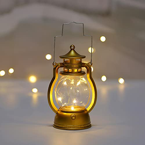Christmas Retro Small Oil Lamp Electronic Candle Lamp Led Horsem Lamp Decoration Gift-Golden,A