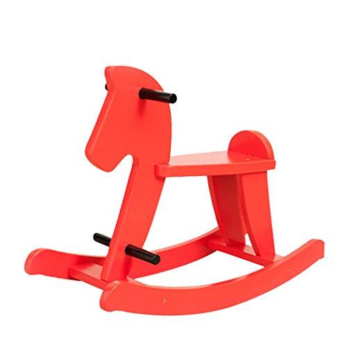 Cheval à Bascule pour Enfants Rouge Simple Cheval en Bois Chaise à Bascule en Bois Massif Petit Cheval en Bois Cheval à Bascule Jouet pour bébé