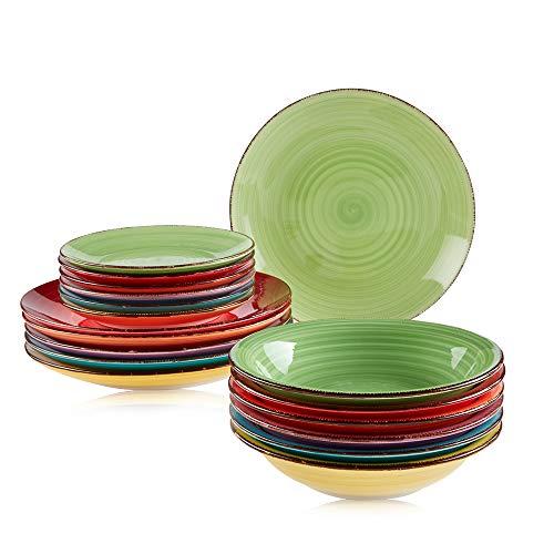 Astor24 PREMIUM Geschirr Set – 18 teilig – Hochwertiges Keramik – Handbemalt – Speiseteller – Suppenteller – Kuchenteller - Bunt