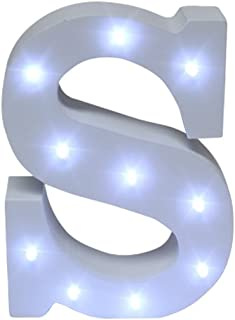 Royal Brands Decorative DIY LED Letter Light Sign - Light Up Wooden Alphabet Letter Battery Operated Party Wedding Marquee Décor - White (S)