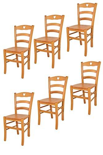 t m c s Tommychairs - Set 6 sillas Cuore para Cocina y Comedor, Estructura en Madera de Haya Color Miel y Asiento en Madera
