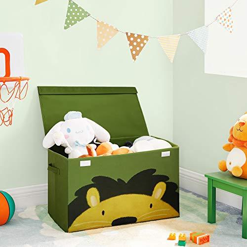 SONGMICS Aufbewahrungsbox, 60 x 35 x 38 cm, Spielzeug-Organizer, Faltbox, Stoffbox mit 2 Griffen und Deckel, Aufbewahrungskiste, für Kinderzimmer, Spielzimmer, Schlafzimmer, grün-gelb RFB741C01 - 3