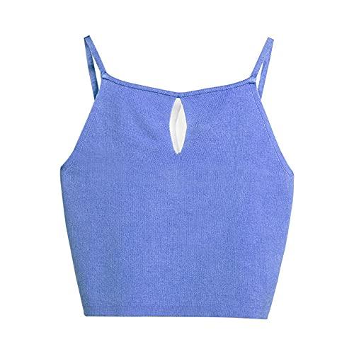 Camisole Damen Sexy Kurze Mode Bequeme Sommer Ärmellose Tops Urlaub Freizeit Elegante Einfarbige Klassische All-Match Damen Tops Damen T-Shirt G-Blue M