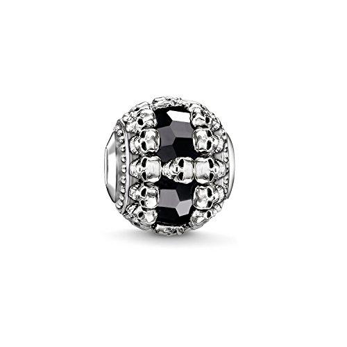 Thomas Sabo Damen Herren-Bead Totenkopf Karma Beads 925 Sterling Silber geschwärzt Onyx schwarz K0241-698-11