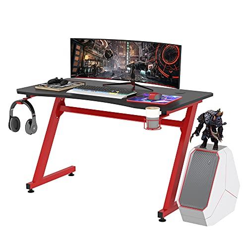 HOMCOM Mesa Gaming para Ordenador PC Escritorio de Oficina con Portavasos Gancho para...