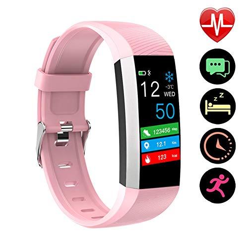 Fitness Braccialetto Bluetooth Impermeabile con Contatore Passi, Misurazione della Temperatura Cardiofrequenzimetro da Polso, Calorie, Monitor del Sonno per Uomo Donna Bambini,Rosa