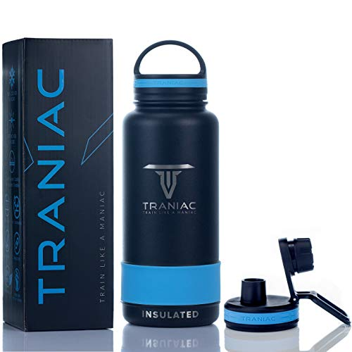TRANIAC - Train Like A Maniac Double Walled Vacuum Insulated Stainless Steel Flask, Cold Up to 36/Hot 13 Hours, Extra Sports Mode Lid Included, Thermos Bottle, 1000 ml/1 Litre, Stealth Black