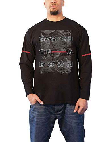 System of A Down T Shirt Eye Collage Nue offiziell Herren Schwarz Long Sleeve