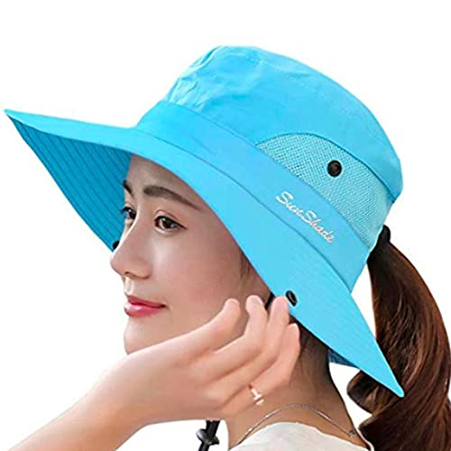 Womens UV Protection Wide Brim Sun Hats - Cooling Mesh Ponytail Hole Cap Foldable Travel Outdoor Fishing Hat Pure Blue