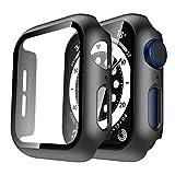 TAURI 2 Pack Fundas Apple Watch 38mm Serie 3/2/1 Protector de Pantalla iWatch Case Rígido para PC Funda Protección Completo Anti-Rasguños