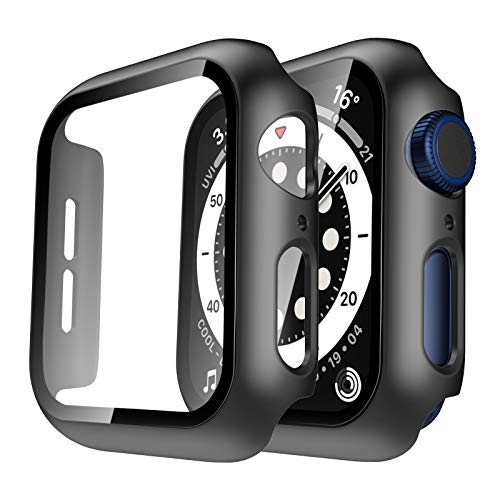 Tauri 2 Pack Hard Case Compatible for Apple Watch SE Series 6 5 4 44mm Built in 9H Tempered Glass Screen Protector Slim Bumper Touch Sensitive Full Protective Cover Compatible for iWatch 44mm - Black