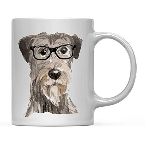 Andaz Press Funny Preppy Dog Art 11oz. Coffee Mug Gift, Irish Wolf Hound in Black Glasses, 1-Pack, Christmas Birthday Present Ideas for Him Her Dog Lover