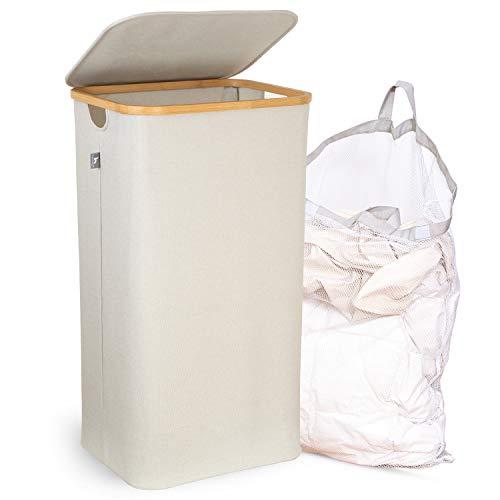 HENNEZ® XXL Wäschekorb mit Deckel 100L herausnehmbarer Sack, Wäschetonne, eleganter Bambus Wäschesammler Beige, Wäschebox Groß