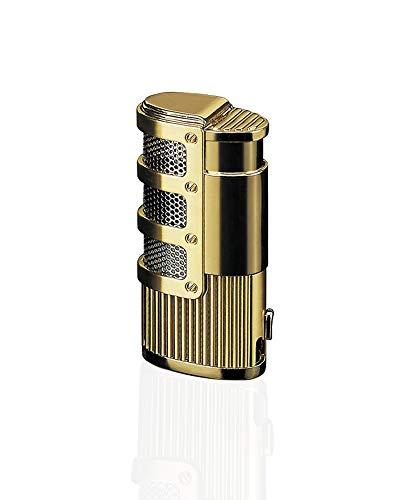 【WDMART】 葉巻 用ライター ガスライター メタルライター 充填式ライター 注入式ライター トリプル ターボ ジェット ライター 葉巻パンチ付き 誕生日プレゼント(ガスを含んでいません) (ゴールド)