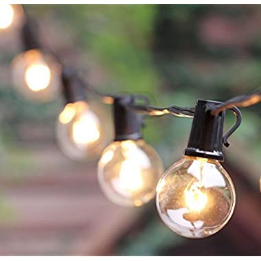 Outdoor G40 String Lights, Vintage Backyard Patio Lights with 25 Clear Globe Bulbs-UL listed for Indoor/Outdoor Use, Globe Wedding Light String, Umbrella String Lights 25FT(Same as Brightown)