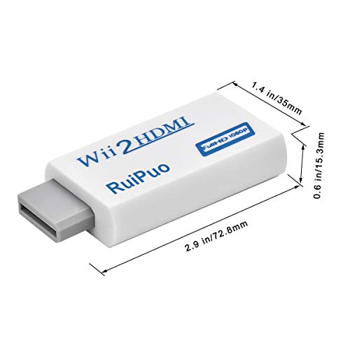 Wii to Hdmi Converter Output Video Audio Adapter, With 3.5mm Audio Video Output Supports All Wii Display Modes, Best Compatibility and Stability for Nintendo