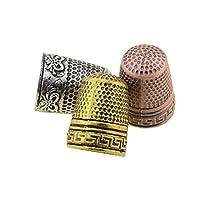 STK 指抜き 裁縫 指ぬき 手芸 金属 シンブル 針仕事 滑り止め 裁縫道具 家庭用 プロ (シルバー, 10個セット)