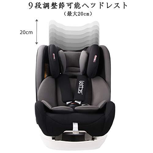 LETTASチャイルドシート新生児~12歳頃(0~36kg)ISOFIX対応シートベルト固定一年保証(ブラック)