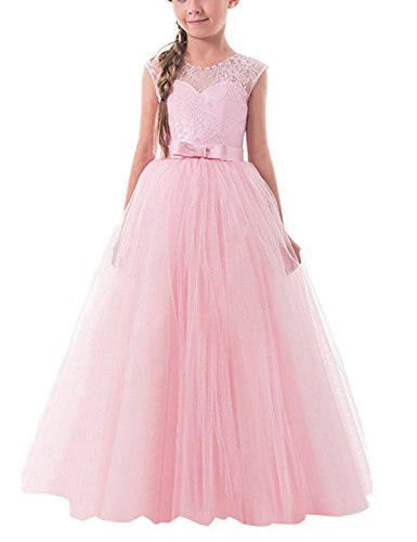 TTYAOVO Girls Pageant Ball Gowns Kids Chiffon Embroidered Wedding Party Dress Size 11-12 Years Pink