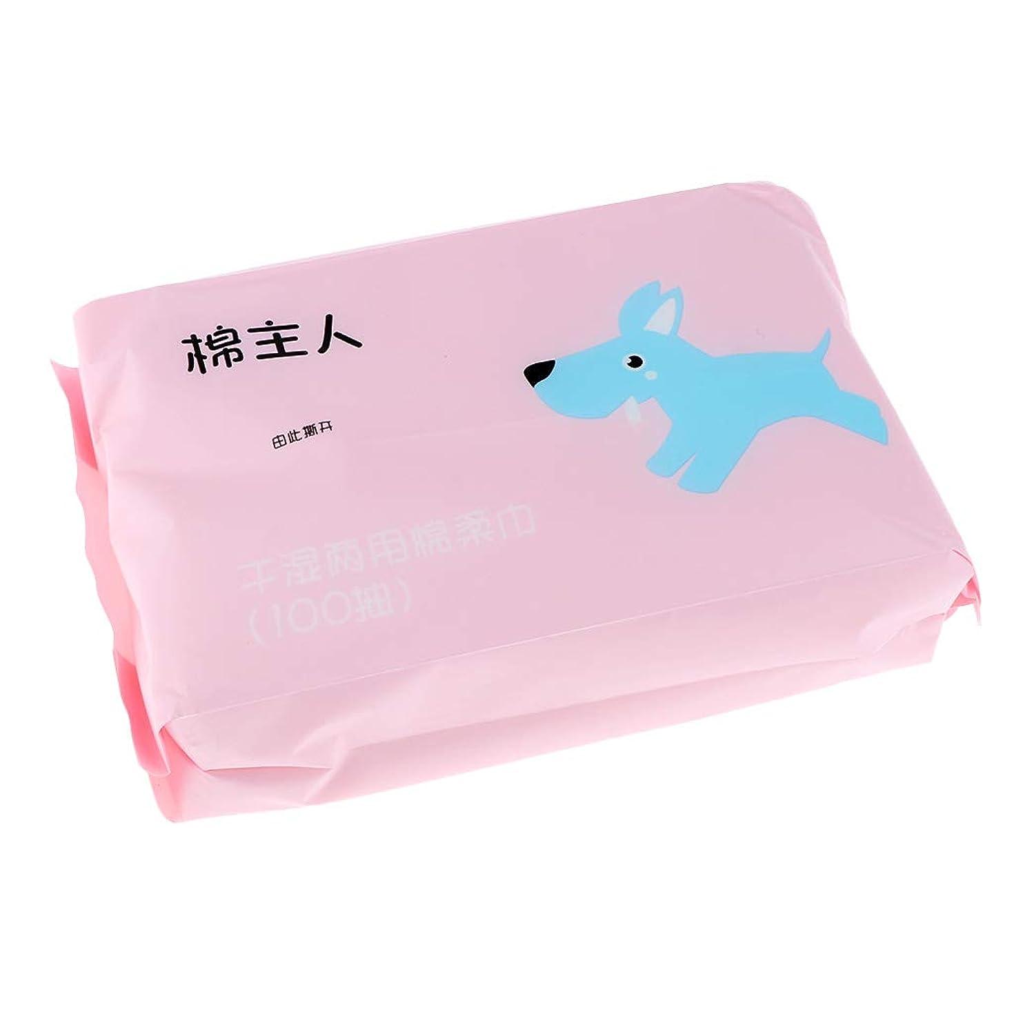 どういたしまして遠近法計画P Prettyia 約100枚 使い捨て クレンジングシート ソフト 2色選べ  - ピンク