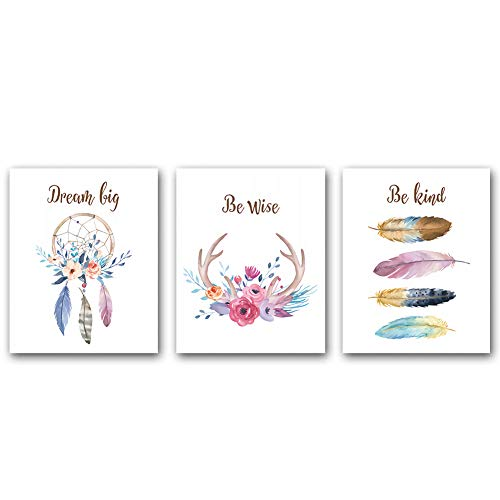 3 Set,Girls Boho Tribal Art Print,Dreamcatcher Feathers Flowers With Inspirational Quote Wall Poster Picture, Nordic Dream Catcher Pictures for Living Room Bedroom Home Decor ,(Unframed,8'X10')