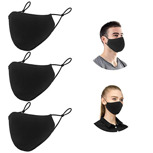 Cloth Safety Shields Reusable, 3-Ply Teen & Adults Black Adjustable Mouth Shields Breathable Washable for Dust, Particle Droplet, Pollen Protection (3 pack)