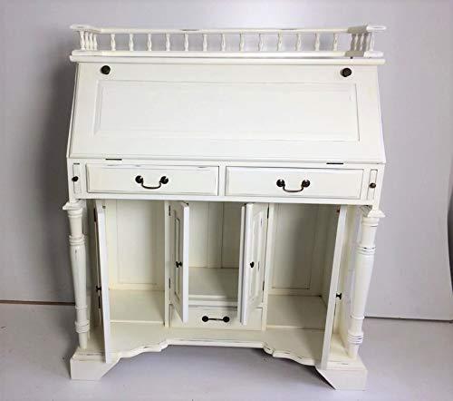 handmade Sekretär, Schreibtisch, im Kolonialstil in antikweiß mit vielen Fächern und Schüben.