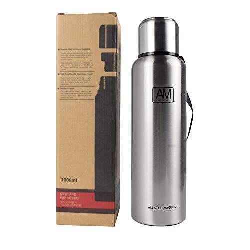 BIGNADO Thermosflasche, 1100ML /1500ML Edelstahlflasche Thermoskanne 304 Vakuum Isolierbecher Großer Kapazität warm und kühlend Halten 24 Stunden Tragbare Reisebecher-Sportbecher(Silber 1500ML)
