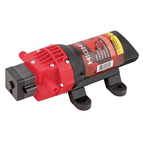 Fimco High-Flo 5151086 High-Performance 12V Diaphragm Sprayer Pump, 1.2GPM, 60PSI, 5Amp, Round-Up Ready