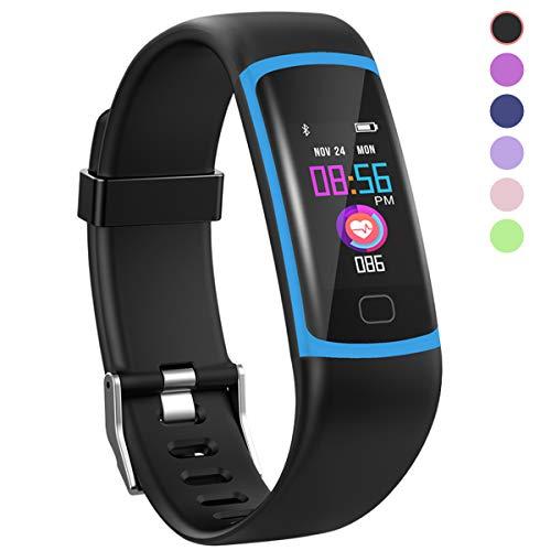 Polywell Fitness-Tracker, Aktivitätstracker mit Herzfrequenz-Monitor und Schlaf-Monitor, Bluetooth, wasserdicht, Schrittzähler und Kalorienzähler für Android und iOS (Blue)
