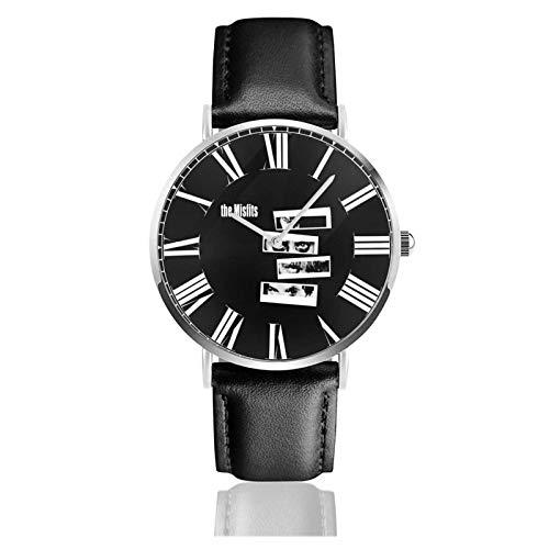 Reloj de Pulsera Misfits Durable PU Correa de Cuero Relojes de Negocios de Cuarzo Reloj de Pulsera Informal Unisex