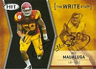 Autograph Warehouse 51266 Rey Maualuga Autographed Football Card Uscs 2009 Sage Hit No .Ws 16