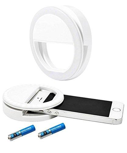 SBS Selfie Light Cellulare Luce Anelli con 36 LED Punti di luce incl. Batterie e Sacchetto raso - bianco, Weiß