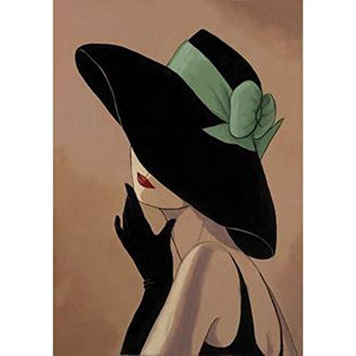 Lazodaer Kit de pintura de diamante 5D por número, kit de pintura de diamante para adultos y principiantes, para decoración del hogar, mujer con un sombrero de 30 x 39,9 cm