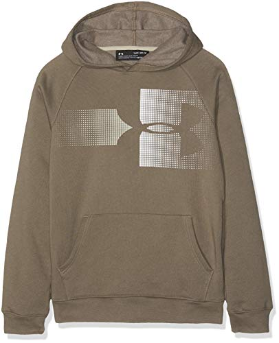 Under Armour Kids Rival Logo Hoody Warm up Top Silt BrownOnyx White Large