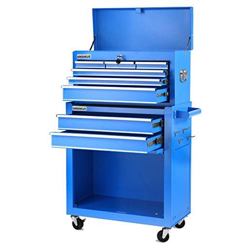 Greencut HEC1075A Carro para herramientas PRO armario acero 4 ruedas 10 cajones Azul