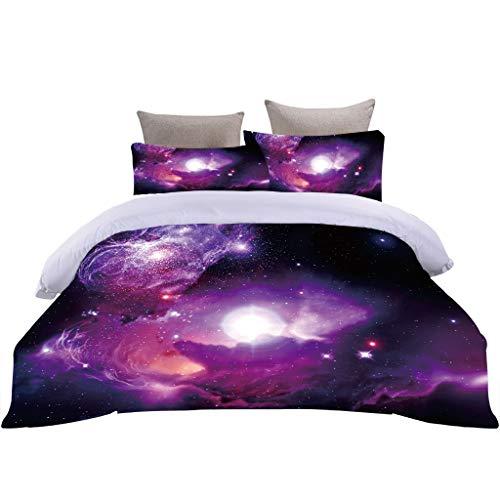 Stillshine. Ropa de Cama Galaxia Púrpura Universo Constelación Impresión Funda nórdica Funda de Almohada Single/Doble/Cama Grande Adultos y Adolescentes (Color 1, 220 × 240 cm)