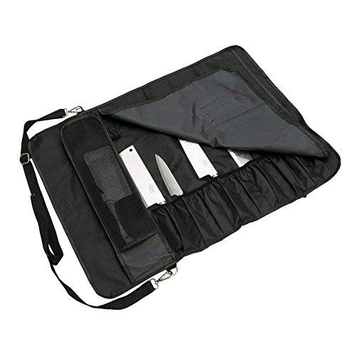 Bolsa para Cuchillos de Camping con 17 Compartimentos Cuchillos de sujeci/ón QEES DD14 Funda Impermeable para Almacenamiento de Cuchillos cucharas y Tenedores